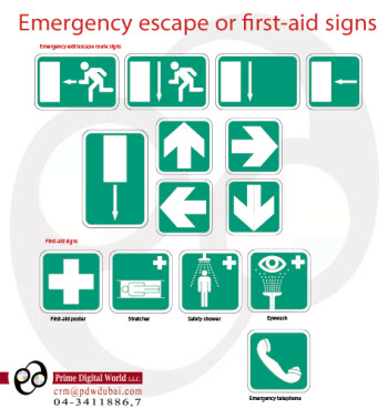 Emergency escape or first aid signs